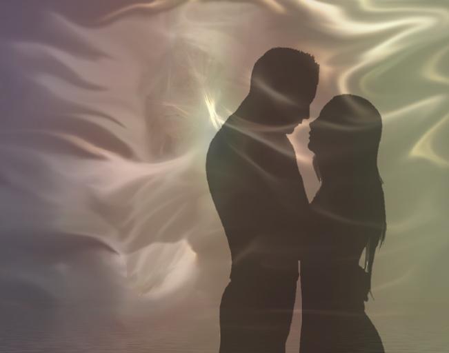 Závoj, siluety, muž a žena, romantika.jpg